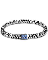 John Hardy Sterling Silver Classic Chain Black & Blue Sapphire Reversible Bracelet - Metallic