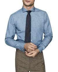 Reiss Draper Chambray Shirt - Blue