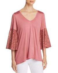 Status By Chenault - Lace Bell Sleeve Top - Lyst