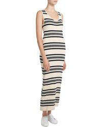Theory Striped Ribbed Maxi Dress - Blue