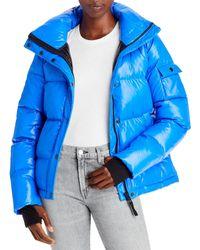 Aqua Ella Hooded Puffer Jacket - Blue