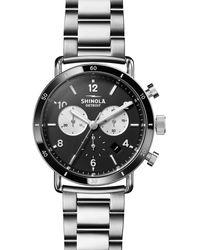 Shinola Men's 40mm Canfield Sport Chronograph Bracelet Watch - Metallic