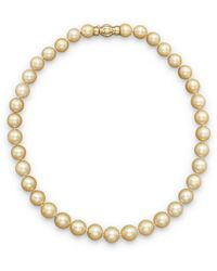Bloomingdale's - Cultured Golden South Sea Pearl Necklace In 14k Yellow Gold - Lyst