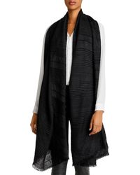 Echo Pleated Plaid Scarf - Black