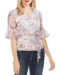 Vince Camuto - Printed Chiffon Wrap Top - Lyst