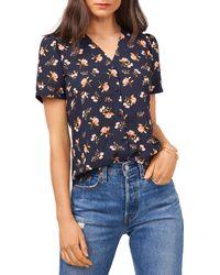 1.STATE Puff Sleeve Button Up Shirt - Blue