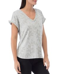 B Collection By Bobeau Adrianna Printed French Terry Top - Gray