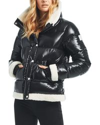 Sam. Gigi Shearling Trim Down Jacket - Black