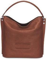 Longchamp 3d Leather Hobo Bag - Brown