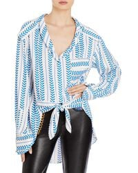 Hellessy Erin Tie Front Blouse - Blue