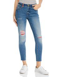 Aqua Distressed Bandana Skinny Jeans - Blue