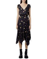 The Kooples Butterfly Print Wrap Midi Dress - Black