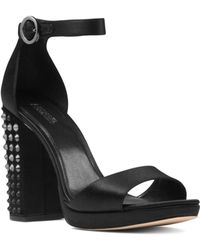 MICHAEL Michael Kors - Women's Erika Studded Satin Ankle Strap Sandals - Lyst