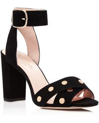 Kate Spade Oakwood Studded High Block Heel Sandals - Black