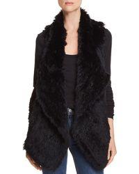 C By Bloomingdale's Rabbit Fur & Cashmere Vest - Black