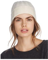 C By Bloomingdale's Ribbed Cashmere Cuff Hat - White