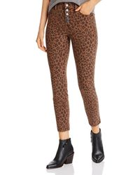 Level 99 Heidi Button - Fly Skinny Jeans In Spiced Leopard - Brown