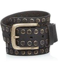 John Varvatos Men's Studded Leather Belt - Black
