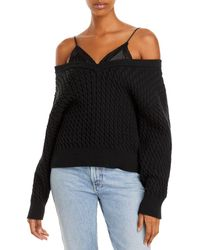 T By Alexander Wang Layered Look Cable Jumper - Black
