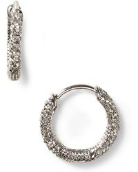 Nadri Pavé Huggie Hoop Earrings - Metallic