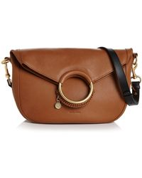 See By Chloé See By Chloe Monroe Large Ring Handle Leather Shoulder Bag - Brown