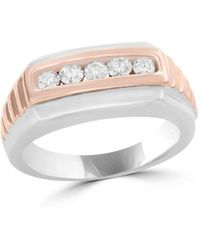 Bloomingdale's Diamond Men's Band In 14k White And Rose Gold