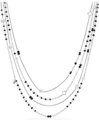 David Yurman - Oceanica Two - Row Chain Necklace With Cultured Freshwater Pearls And Black Spinel - Lyst