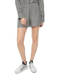 MICHAEL Michael Kors Logo Checkerboard Pyjama - Style Silk Mini Shorts - Black