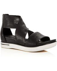 Eileen Fisher Women's Sport Crisscross Wedge Platform Sandals - Black