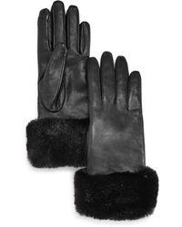 Fownes Faux Fur Trim Leather Tech Gloves - Black