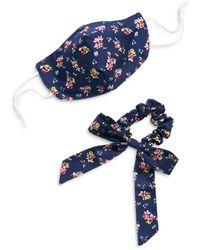 Free People Floral Mask & Scrunchie Bow Set - Blue