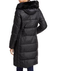 Via Spiga - Faux Fur Trim Hooded Puffer Coat - Lyst
