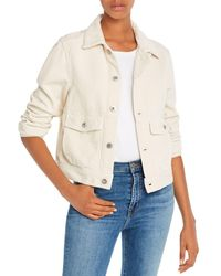 AG Jeans Workwear Cropped Corduroy Jacket In Ivory Dust - White