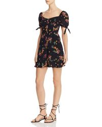 Olivaceous Floral Puff - Sleeve Dress - Black
