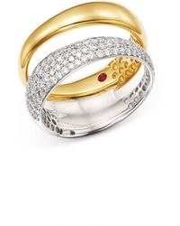 Roberto Coin - 18k White & Yellow Gold Scalare Pavé Diamond Double Ring - Lyst