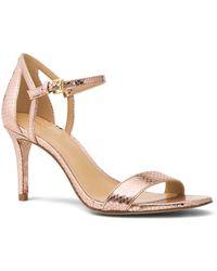 MICHAEL Michael Kors | Women's Simone Leather Mid Heel Sandals | Lyst
