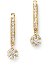 Bloomingdale's Cluster Diamond Drop Earrings In 14k Yellow Gold - Metallic
