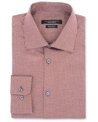 John Varvatos Trim Fit Micro Plaid Dress Shirt - Pink