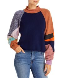 See By Chloé Intarsia Patchwork Knit Jumper - Blue
