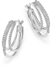 Bloomingdale's - Diamond Triple Row Hoop Earrings In 14k White Gold, .25 Ct. T.w. - Lyst