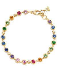 Temple St. Clair 18k Yellow Gold Classic Multi - Gemstone Rainbow Eternity Bracelet - Multicolor