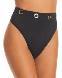 OYE Swimwear Arya Grommet Bikini Bottom - Black