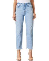 GRLFRND Helena Super High Rise Ripped Jeans In Gonna Love Me - Blue