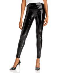 Aqua Faux Leather Leggings - Black