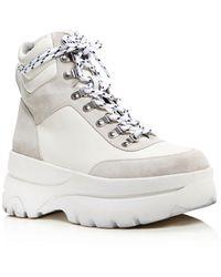 Aqua Women's Haly Platform Hiker Boots - White