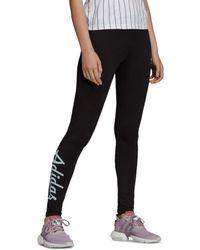 d520479b96233 adidas Originals Tape Logo Leggings in Black - Lyst