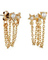 Karl Lagerfeld - Mini Rocky Multi - Charm Chain Swag Earrings - Lyst