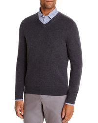 Bloomingdale's Cashmere V - Neck Sweater - Gray