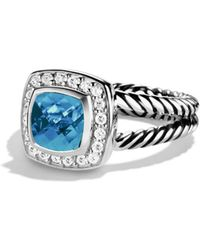 David Yurman - Petite Albion Ring With Blue Topaz & Diamonds - Lyst
