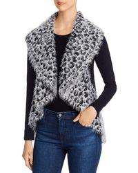 Sioni Draped Leopard Print Jumper Vest - Grey